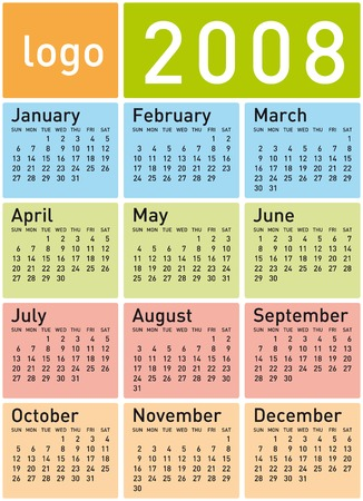 Colorful Calendar for 2008. With Space reserved for logo. Vector
