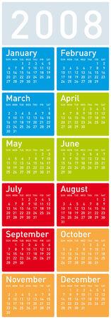 Colorful Calendar for 2008. vertical design Vector