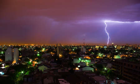 Lightning in a stormy night, in the outsides of Buenos Aires, Argentina Stock Photo - 2063772
