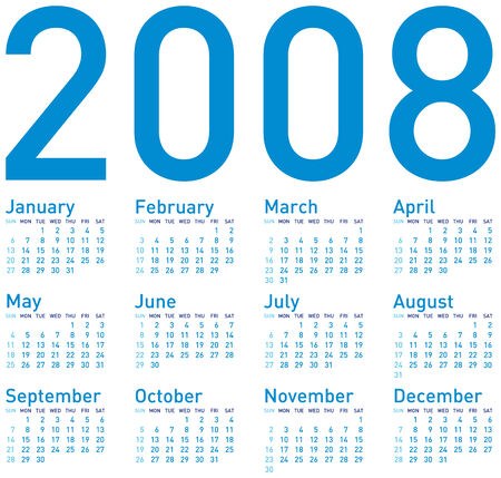 weekly planner: Simple Blue Calendar for 2008.