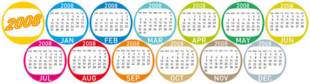 horizontal orientation: Colorful Calendar for 2008. with a circles design. horizontal orientation