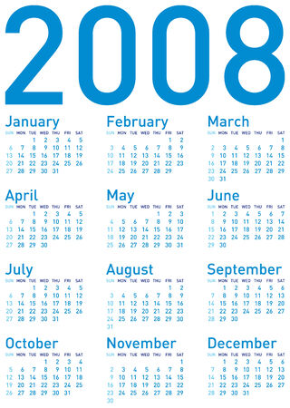 almanac: Simple Blue Calendar for 2008. Illustration