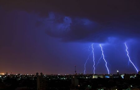 streak lightning: Electrical Storm over the City Stock Photo