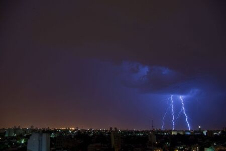Electrical Storm over the City Stock Photo - 2522945