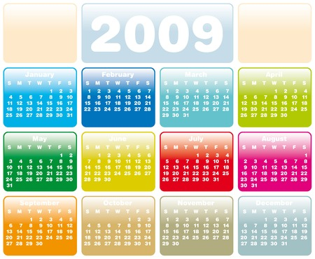 Colorful Calendar for 2009. Horizontal design. With Space reserved for logo