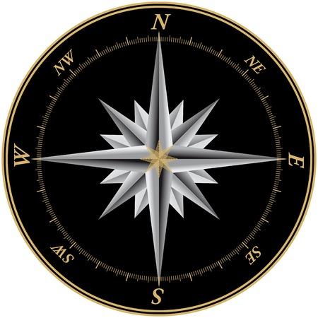 rosa dei venti: Bussola illustrazione con sfondo nero e marchi per ciascuno dei 360 gradi