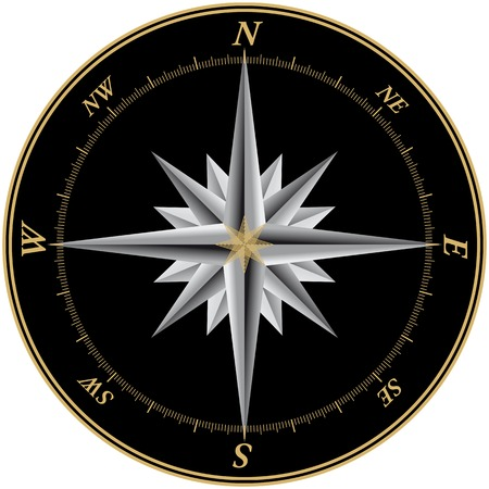 compass rose: Compass illustration with black background and marks for each of the 360 degrees