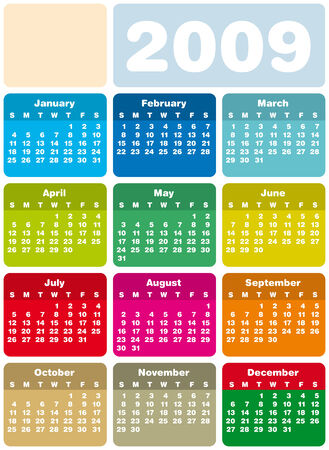 Colorful Calendar for 2009. vertical design. With Space reserved for logo. Illustration