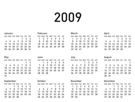 Simple Calendar for 2009. Illustration