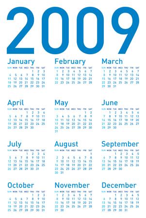 Simple Blue Calendar for 2009.