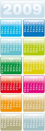 almanac: Colorful Calendar for 2009. Vertical design.
