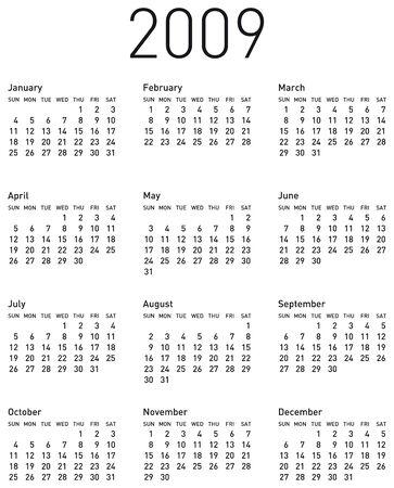 almanac: Simple Calendar for 2009. Illustration