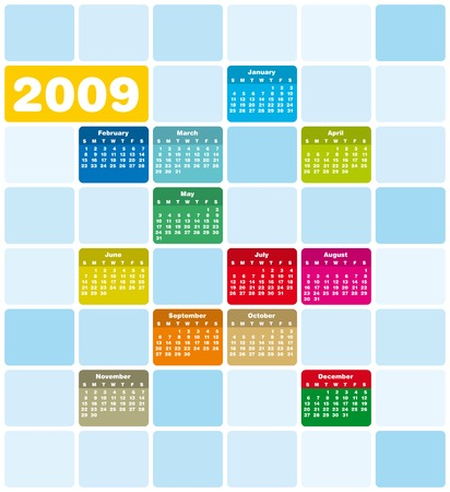 schedulers: Colorful Calendar for 2009. Squares Design.