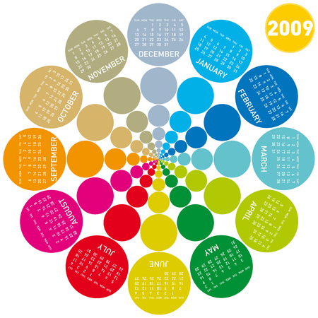 colorful calendar for 2009. lots of colorful circles, rotating design.