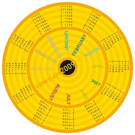 almanacs: colorful calendar for year 2009. rotating design
