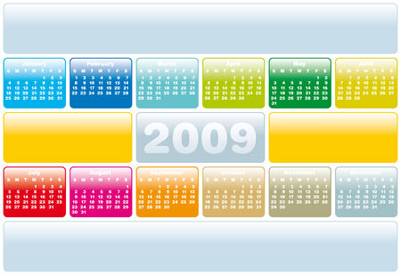 weeks: Colorful Calendar for 2009. with space reserved for logo and text.