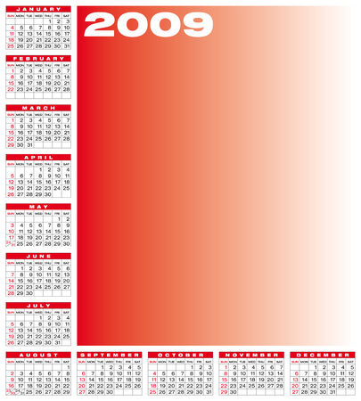 schedulers: Calendar for 2009. Numbers within a grid. Laid around the space for a picture.
