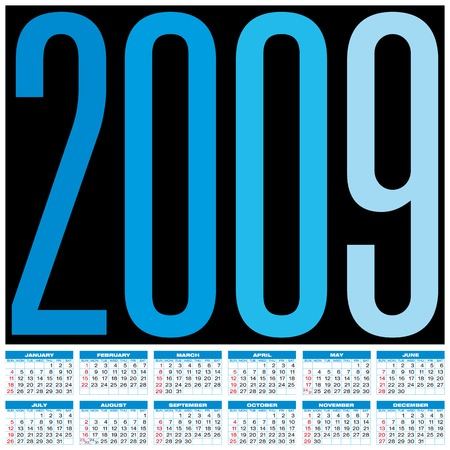 schedulers: Calendar for 2009. Numbers within a grid.  Illustration