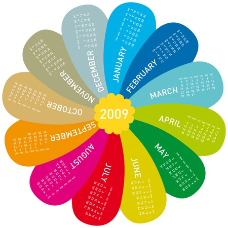 scheduler: colorful calendar for 2009. flower design, each month in a petal.
