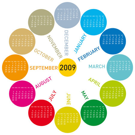colorful calendar for year 2009.