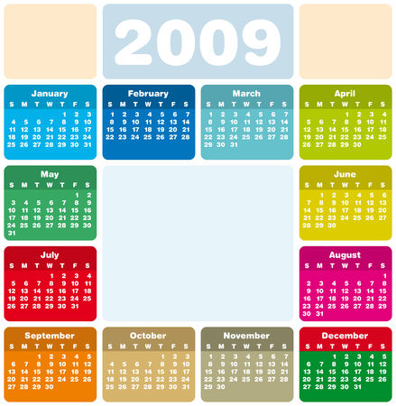 Colorful Calendar for 2009. with space reserved for logo and a picture in the center. Vector