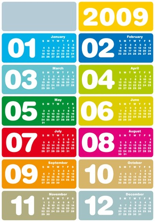 scheduler: Colorful Calendar for 2009. with space reserved for logo. Illustration