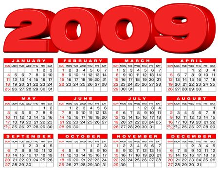 weeks: Calendar for 2009. 3D Header and numbers within a grid.