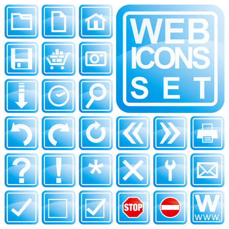 Glossy blue icon set for web applications, in vectors. Vector