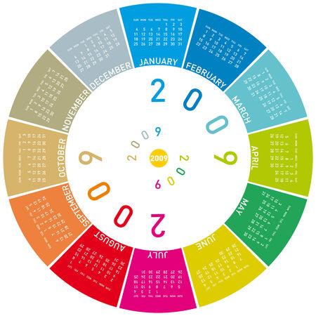 newyear: colorido calendario para el a�o 2009. rotaci�n de dise�o.