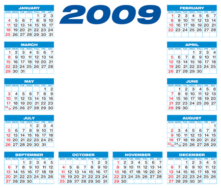 weeks: Calendar for 2009, blue themed, numbers within a grid, and with space for a picture or logo in the center Illustration