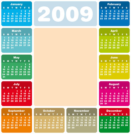 weeks: Colorful Calendar for 2009. with space reserved a picture in the center.