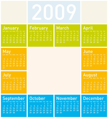 Colorful Calendar for 2009 Vector