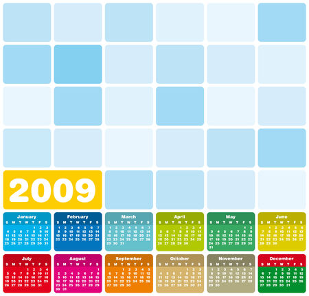 weeks: Colorful Calendar for 2009. Squares Design.