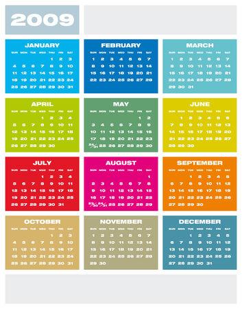 newyear: Colorido Calendario para 2009.