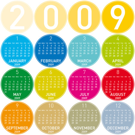 newyear: Colorido Calendario para el a�o 2009, en un tema de los c�rculos