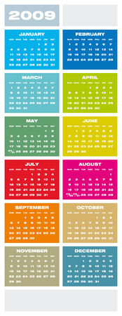 weeks: Colorful Calendar for 2009.