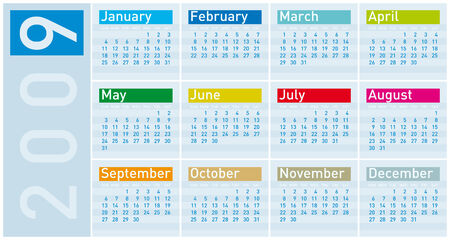 weeks: Colorful Calendar for 2009 in cold tones Illustration