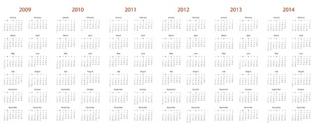 Simple calendario para 2009, 2010, 2011, 2012, 2013 y 2014. Foto de archivo - 3834985