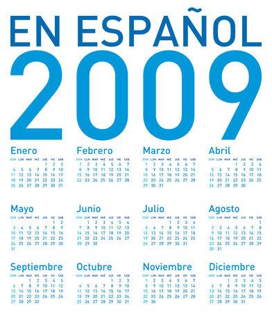 Simple Calendar for 2009, in Spanish  Vector