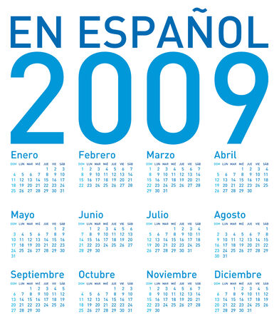 weeks: Simple Calendar for 2009, in Spanish  Illustration
