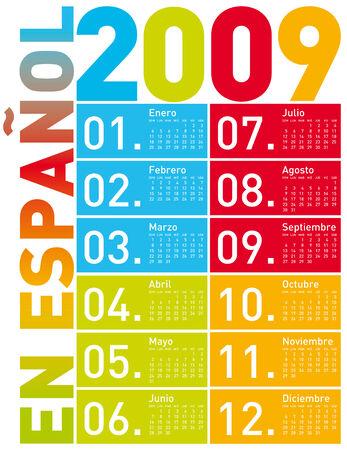 newyear: Colorido Calendario para 2009 en espa�ol. en formato vectorial