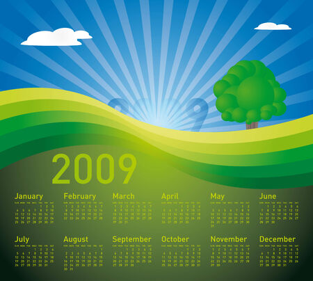 weeks: 2009 Calendar in a peaceful landscape, in vector format. Illustration