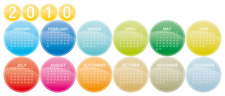 Colorful Calendar for year 2010 in a circles theme. in vector format. Stock Vector - 4422231
