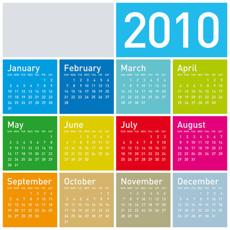 Colorful Calendar for year 2010. in vector format. Stock Vector - 4422230