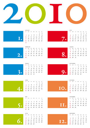 Colorful and elegant Calendar for year 2010 in vector format Stock Vector - 4480676