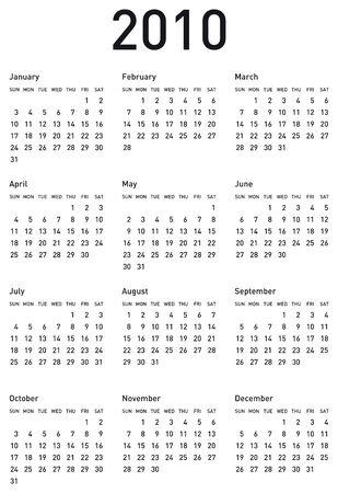 フォーマット: 2010 年のためのシンプルなカレンダーです。ベクトル形式。