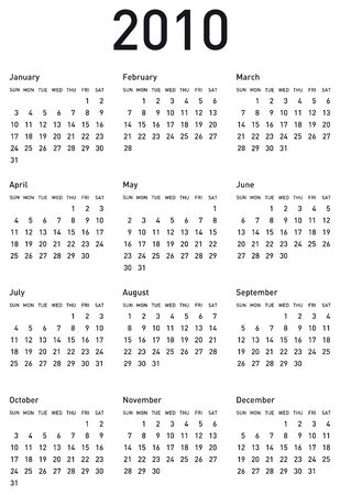 Simple Calendar for year 2010. vector format. Stock Vector - 4480673