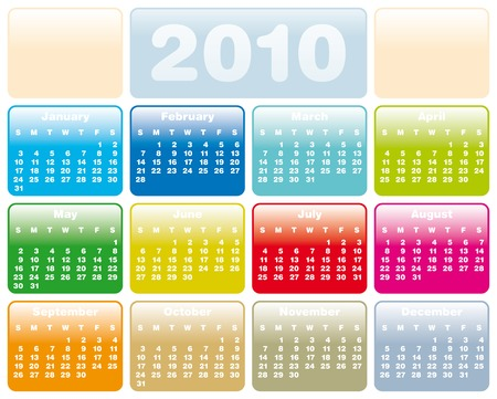 Colorful Calendar for year 2010 in vector format Illustration