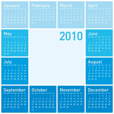 weeks: Blue Calendar for year 2010. in vector format. Illustration