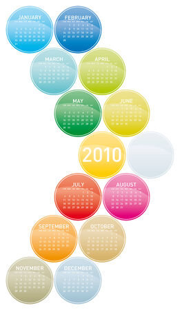 Colorful Calendar for year 2010 in a circles theme. in vector format. Vector
